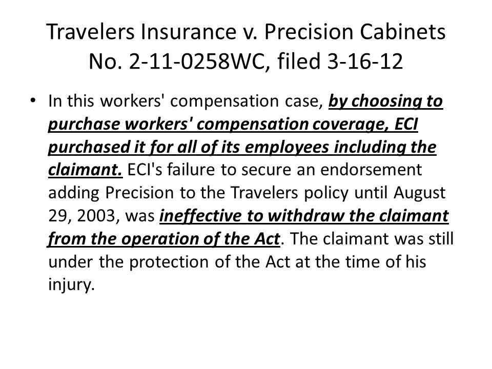 Travelers Insurance v. Precision Cabinets No.