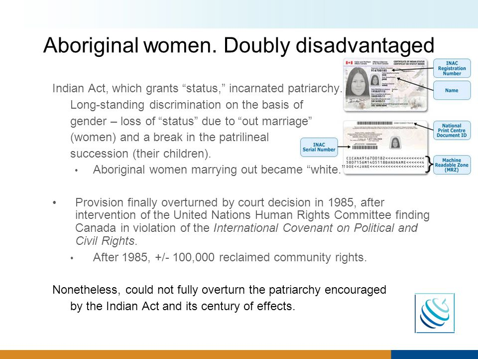 Aboriginal women. Doubly disadvantaged Indian Act, which grants status, incarnated patriarchy.