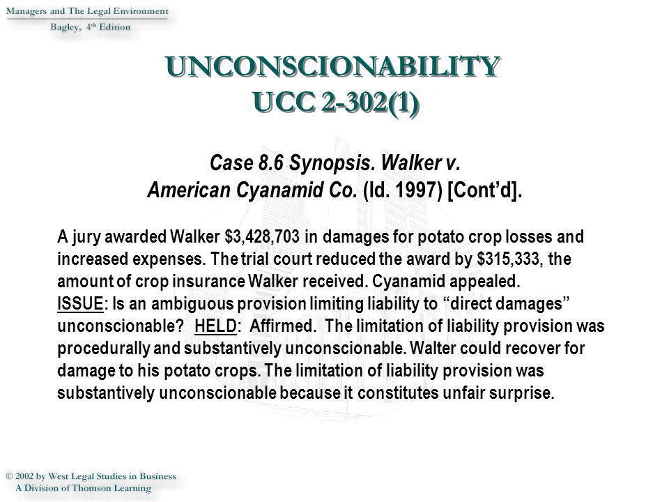 Case 8.6 Synopsis. Walker v. American Cyanamid Co. (Id. 1997) [Contd]. A jury awarded Walker $3,428,703 in damages for potato crop losses and increase