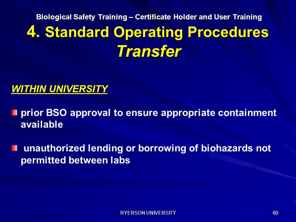 RYERSON UNIVERSITY 60 Biological Safety Training – Certificate Holder and User Training 4. Standard Operating Procedures Transfer Biological Safety Tr