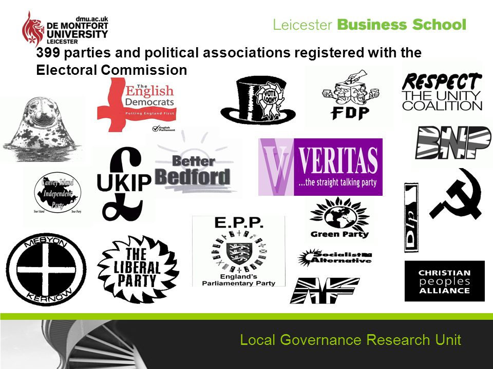 Local Governance Research Unit 399 parties and political associations registered with the Electoral Commission
