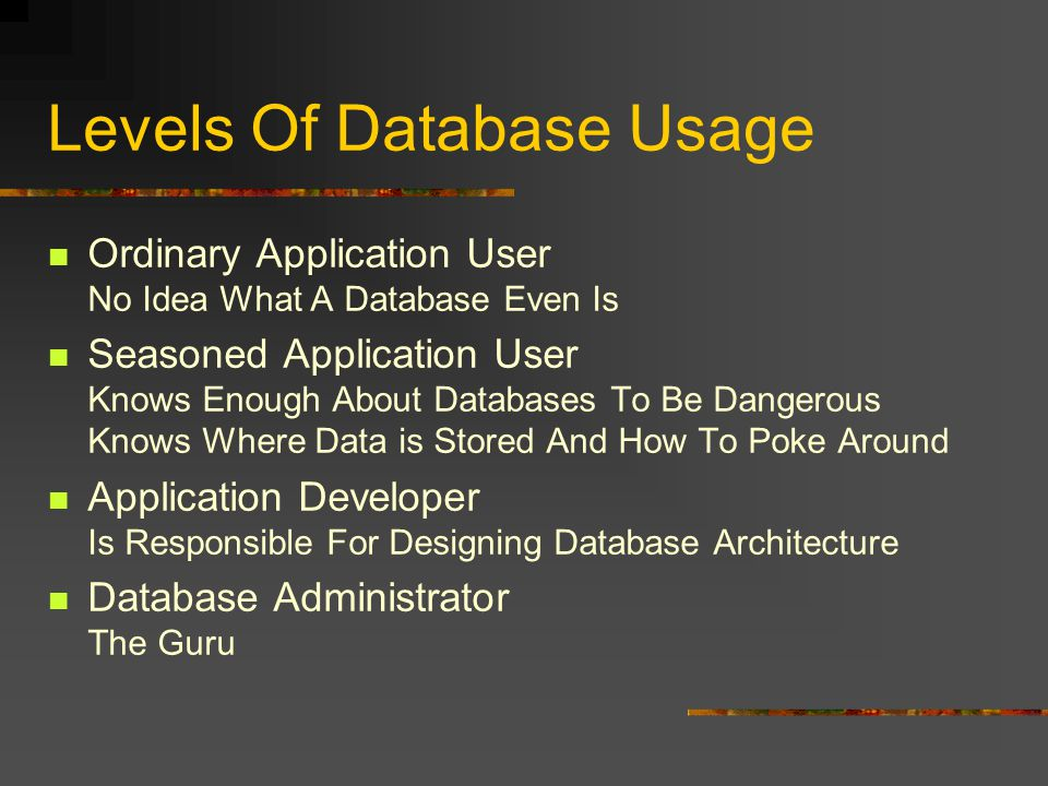 Levels Of Database Usage Ordinary Application User No Idea What A Database Even Is Seasoned Application User Knows Enough About Databases To Be Dangerous Knows Where Data is Stored And How To Poke Around Application Developer Is Responsible For Designing Database Architecture Database Administrator The Guru