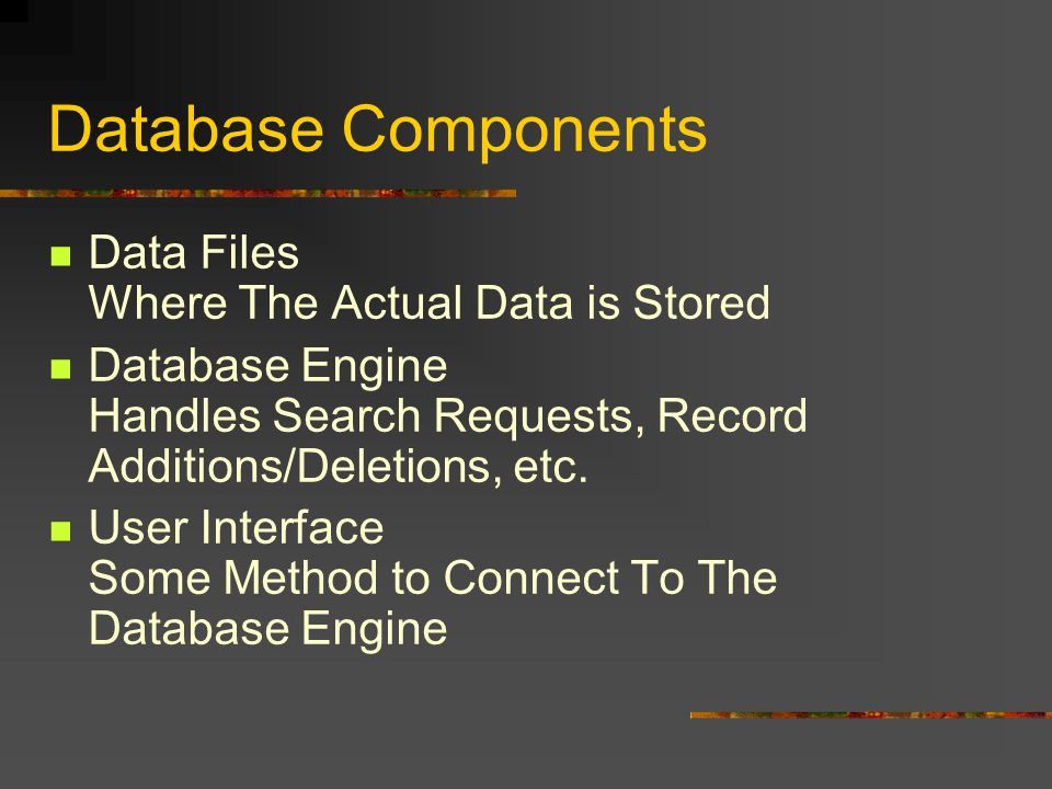 Database Components Data Files Where The Actual Data is Stored Database Engine Handles Search Requests, Record Additions/Deletions, etc. User Interfac