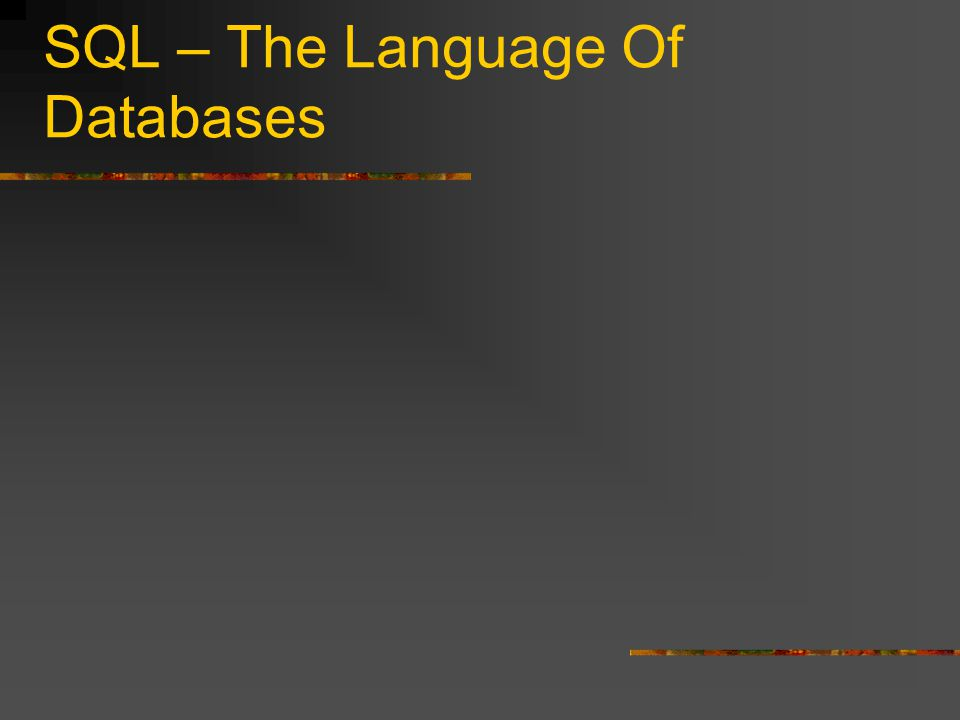 SQL – The Language Of Databases