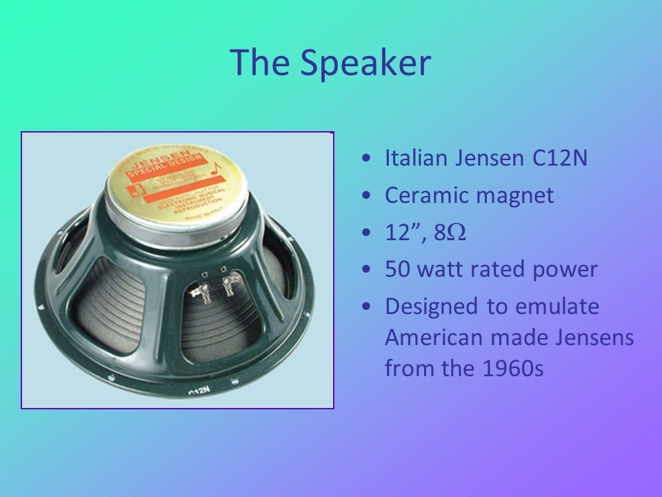 The Speaker Italian Jensen C12N Ceramic magnet 12, 8 50 watt rated power Designed to emulate American made Jensens from the 1960s