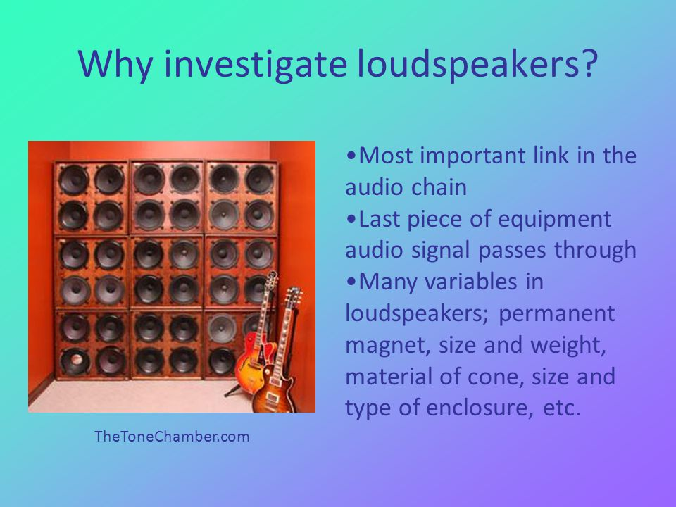 Why investigate loudspeakers.