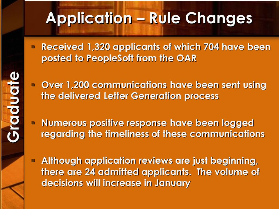 Application – Rule Changes Received 1,320 applicants of which 704 have been posted to PeopleSoft from the OAR Over 1,200 communications have been sent