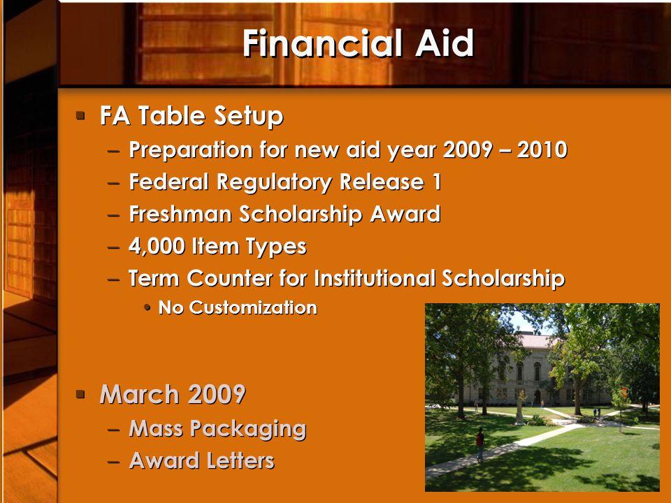 Financial Aid FA Table Setup – Preparation for new aid year 2009 – 2010 – Federal Regulatory Release 1 – Freshman Scholarship Award – 4,000 Item Types