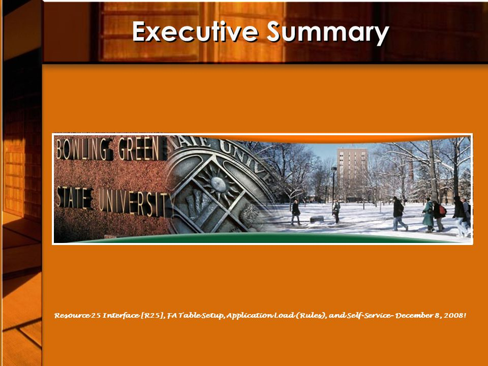 Executive Summary Resource 25 Interface [R25], FA Table Setup, Application Load (Rules), and Self-Service- December 8, 2008!