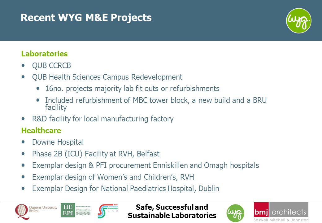 www.wyg.com/ireland creative minds safe hands Safe, Successful and Sustainable Laboratories Recent WYG M&E Projects Laboratories QUB CCRCB QUB Health Sciences Campus Redevelopment 16no.