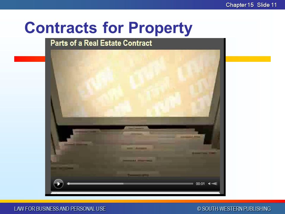 LAW FOR BUSINESS AND PERSONAL USE © SOUTH-WESTERN PUBLISHING Chapter 15Slide 11 Contracts for Property