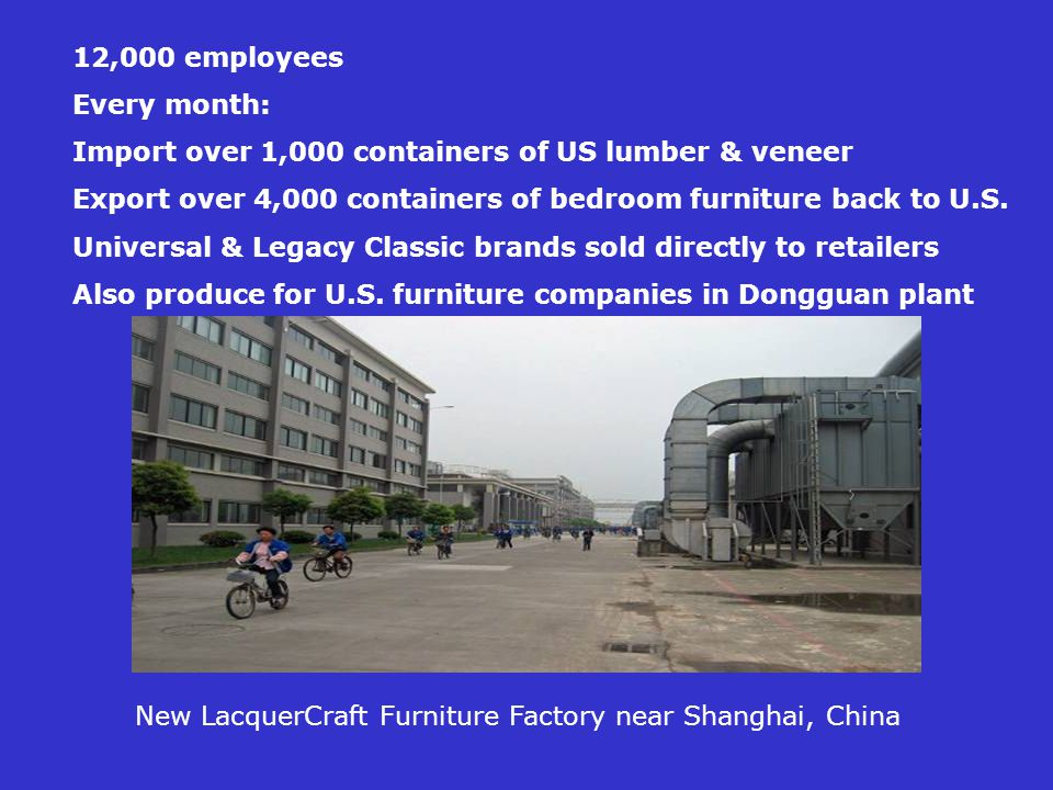 New LacquerCraft Furniture Factory near Shanghai, China 12,000 employees Every month: Import over 1,000 containers of US lumber & veneer Export over 4,000 containers of bedroom furniture back to U.S.