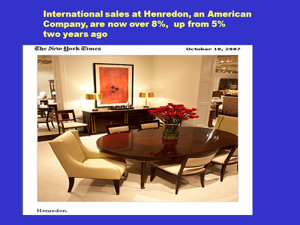 International sales at Henredon, an American Company, are now over 8%, up from 5% two years ago