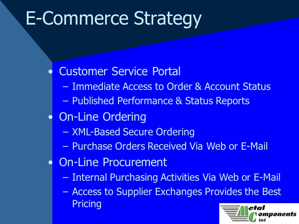 E-Commerce Strategy Customer Service Portal –Immediate Access to Order & Account Status –Published Performance & Status Reports On-Line Ordering –XML-Based Secure Ordering –Purchase Orders Received Via Web or E-Mail On-Line Procurement –Internal Purchasing Activities Via Web or E-Mail –Access to Supplier Exchanges Provides the Best Pricing