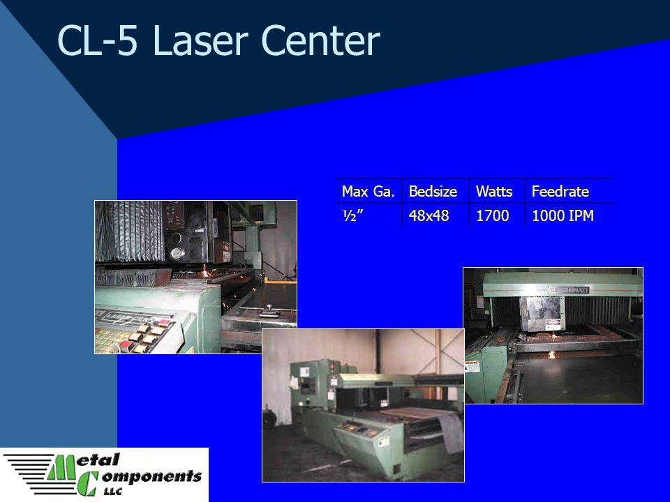 CL-5 Laser Center Max Ga.BedsizeWattsFeedrate ½48x4817001000 IPM