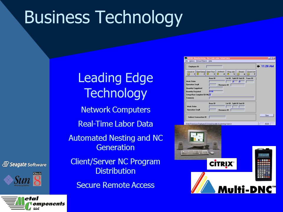 Business Technology Leading Edge Technology Network Computers Real-Time Labor Data Automated Nesting and NC Generation Client/Server NC Program Distri