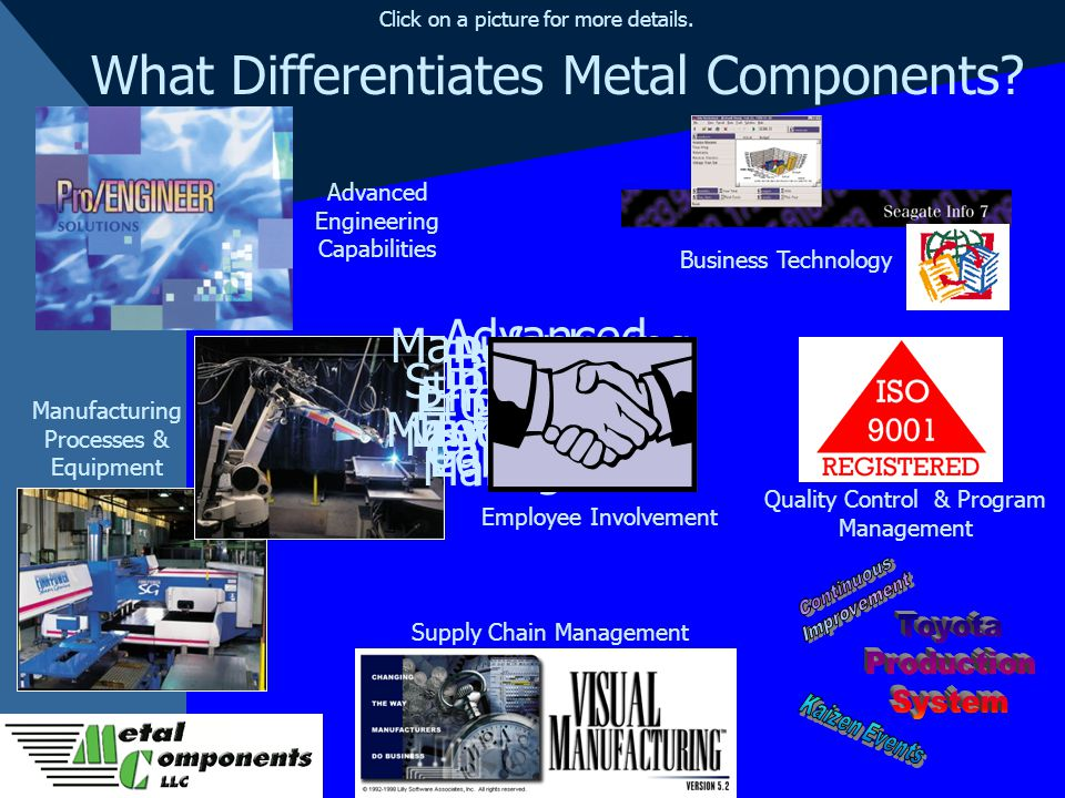 What Differentiates Metal Components? Supply Chain Management Product & Program Management Business Technology Lean Manufacturing Employee Involvement