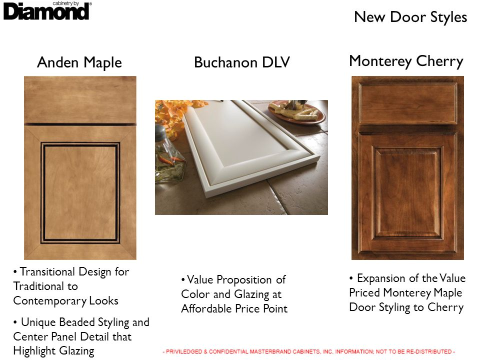 Anden Maple Transitional Design for Traditional to Contemporary Looks Unique Beaded Styling and Center Panel Detail that Highlight Glazing Buchanon DLV Value Proposition of Color and Glazing at Affordable Price Point New Door Styles Monterey Cherry Expansion of the Value Priced Monterey Maple Door Styling to Cherry