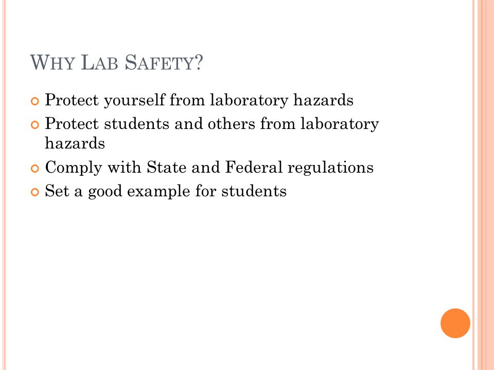 L ABORATORY S AFETY T RAINING O VERVIEW OSHA Occupational exposures to hazardous chemicals in laboratories (1910.1450) Hazard Communication (1910.1200) NFPA Fire Protection for Laboratories Using Chemicals (NFPA 45) Personal Protective Equipment Chemical Storage