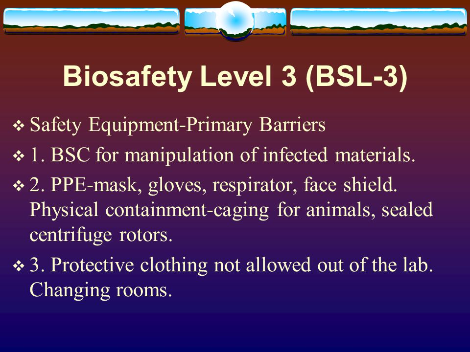 Biosafety Level 4 (BSL-4)..dangerous and exotic agents which carry a high risk of aerosol transmitted infections and life- threatening disease..