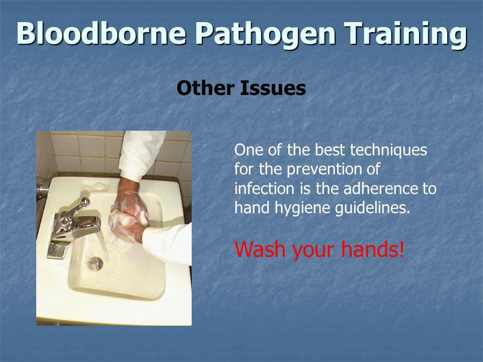 Bloodborne Pathogen Training Other Issues One of the best techniques for the prevention of infection is the adherence to hand hygiene guidelines. Wash