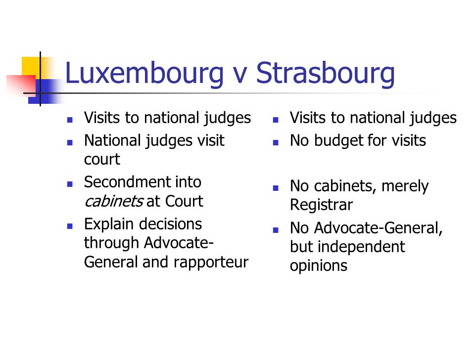 Luxembourg v Strasbourg Visits to national judges National judges visit court Secondment into cabinets at Court Explain decisions through Advocate- General and rapporteur Visits to national judges No budget for visits No cabinets, merely Registrar No Advocate-General, but independent opinions