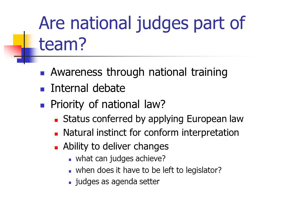 Are national judges part of team.