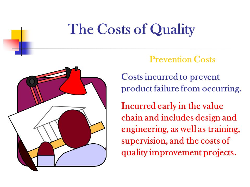 The Costs of Quality Prevention Costs Costs incurred to prevent product failure from occurring. Incurred early in the value chain and includes design