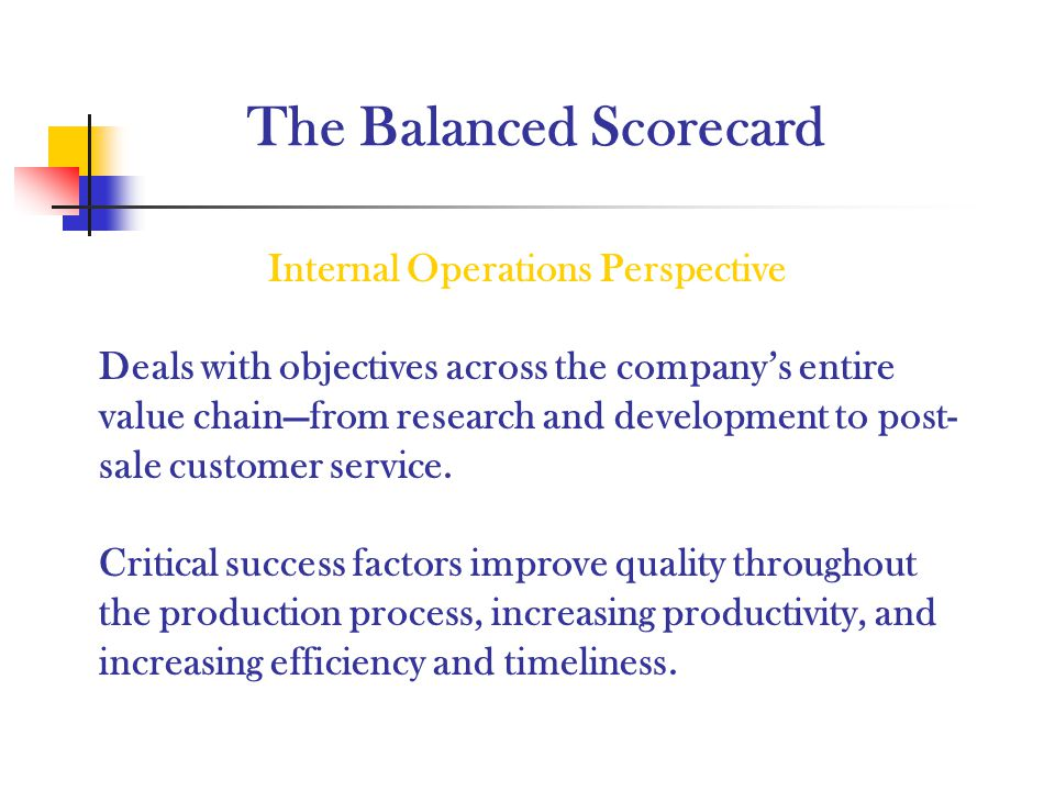 The Balanced Scorecard Internal Operations Perspective Deals with objectives across the companys entire value chainfrom research and development to po