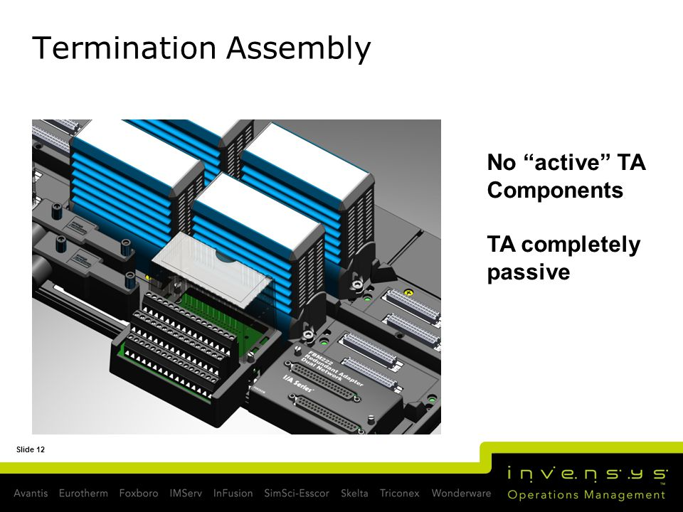 Slide 12 Termination Assembly No active TA Components TA completely passive