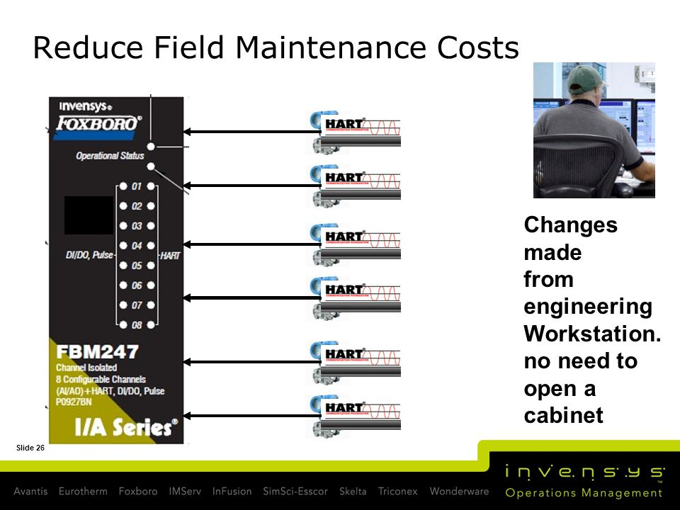 Slide 26 Reduce Field Maintenance Costs Changes made from engineering Workstation. no need to open a cabinet