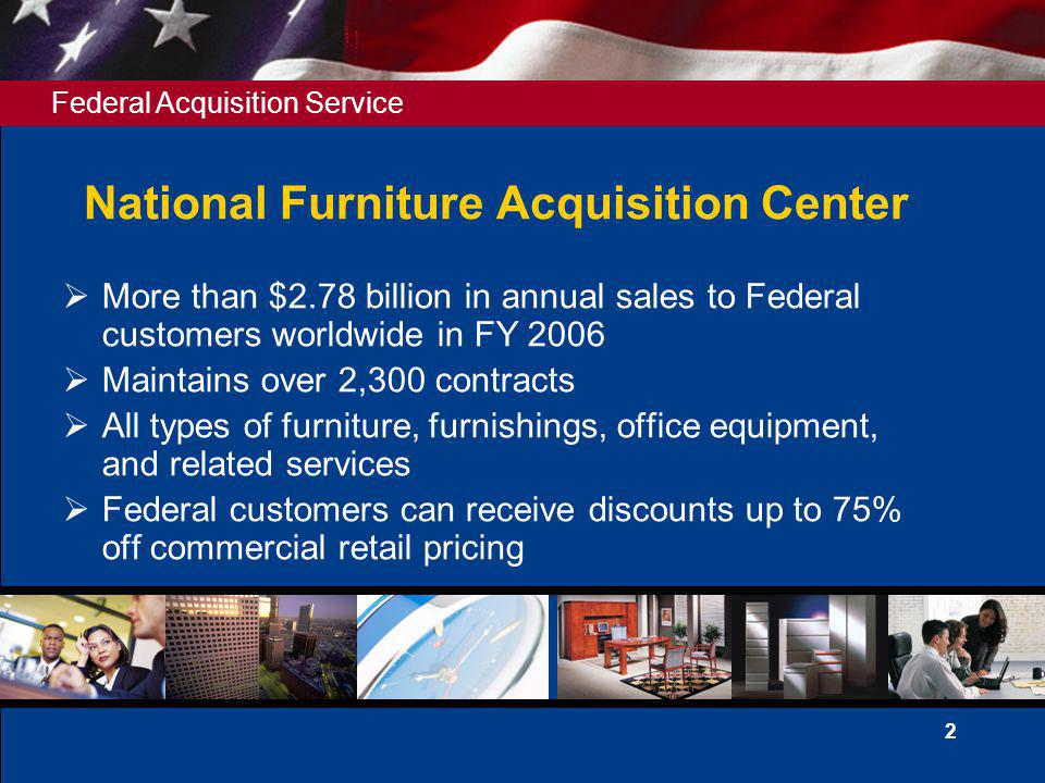 Federal Acquisition Service 3 NFC Schedules 36 Office Equipment 71-I Office Furniture 71-II Household Furniture 71-II-H Packaged Furniture 71-II-K Comprehensive Furniture Mgmt.