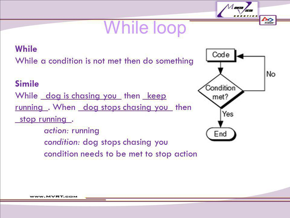While While a condition is not met then do something Simile While _dog is chasing you_ then _keep running_.