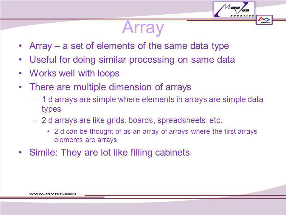 Array – a set of elements of the same data type Useful for doing similar processing on same data Works well with loops There are multiple dimension of arrays –1 d arrays are simple where elements in arrays are simple data types –2 d arrays are like grids, boards, spreadsheets, etc.