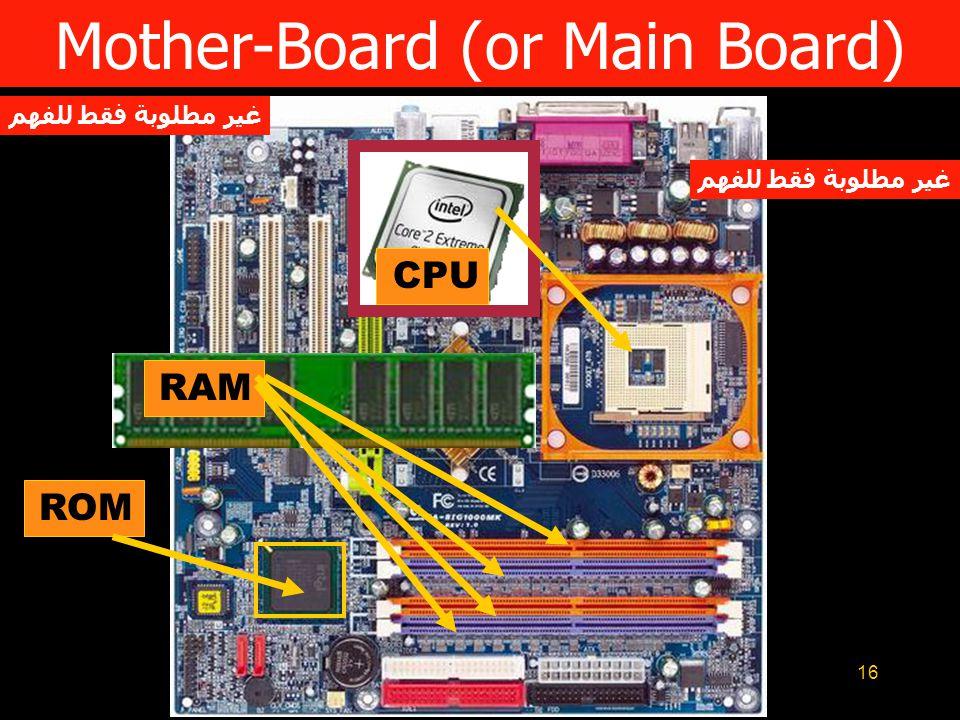 16 RAM Mother-Board (or Main Board) CPU ROM غير مطلوبة فقط للفهم