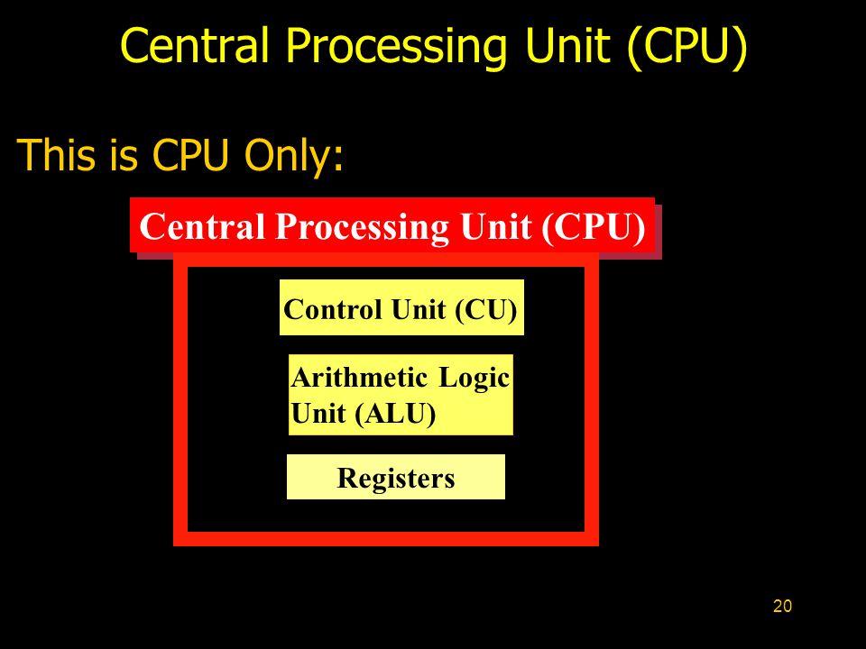 20 Central Processing Unit (CPU) Control Unit (CU) Arithmetic Logic Unit (ALU) This is CPU Only: Registers Central Processing Unit (CPU)