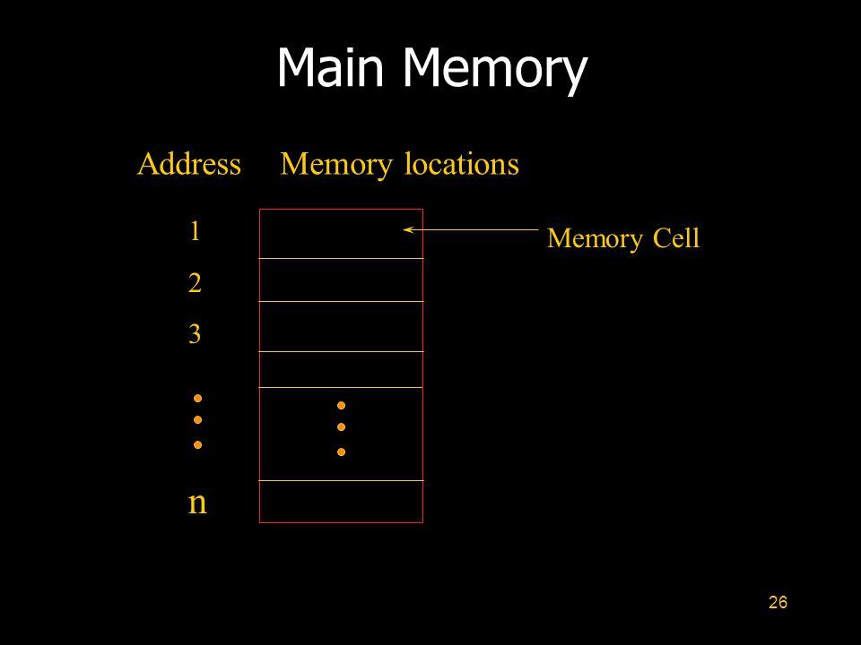 26 Main Memory AddressMemory locations 123n123n Memory Cell