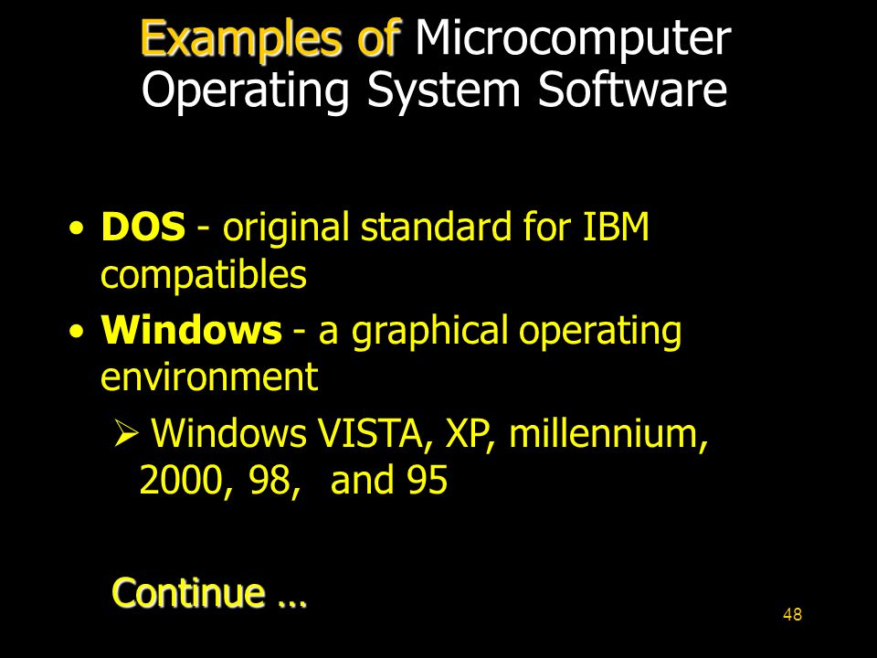 48 Examples of Examples of Microcomputer Operating System Software DOS - original standard for IBM compatibles Windows - a graphical operating environ