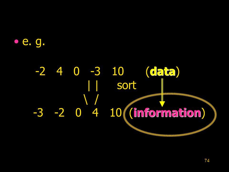 74 e. g. data information -2 4 0 -3 10 (data)     sort \ / -3 -2 0 4 10 (information)