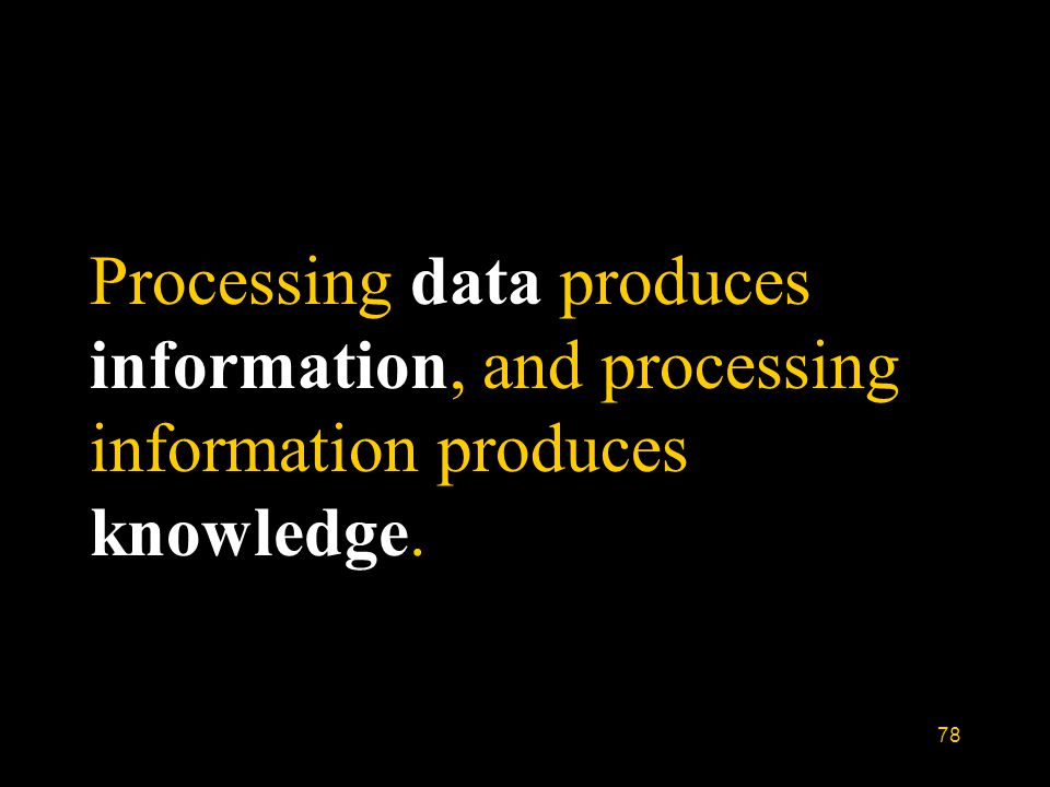 78 Processing data produces information, and processing information produces knowledge.