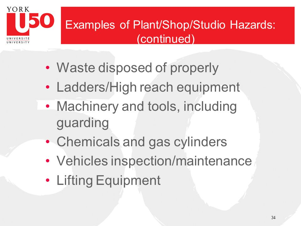 Examples of Plant/Shop/Studio Hazards: (continued) Waste disposed of properly Ladders/High reach equipment Machinery and tools, including guarding Che