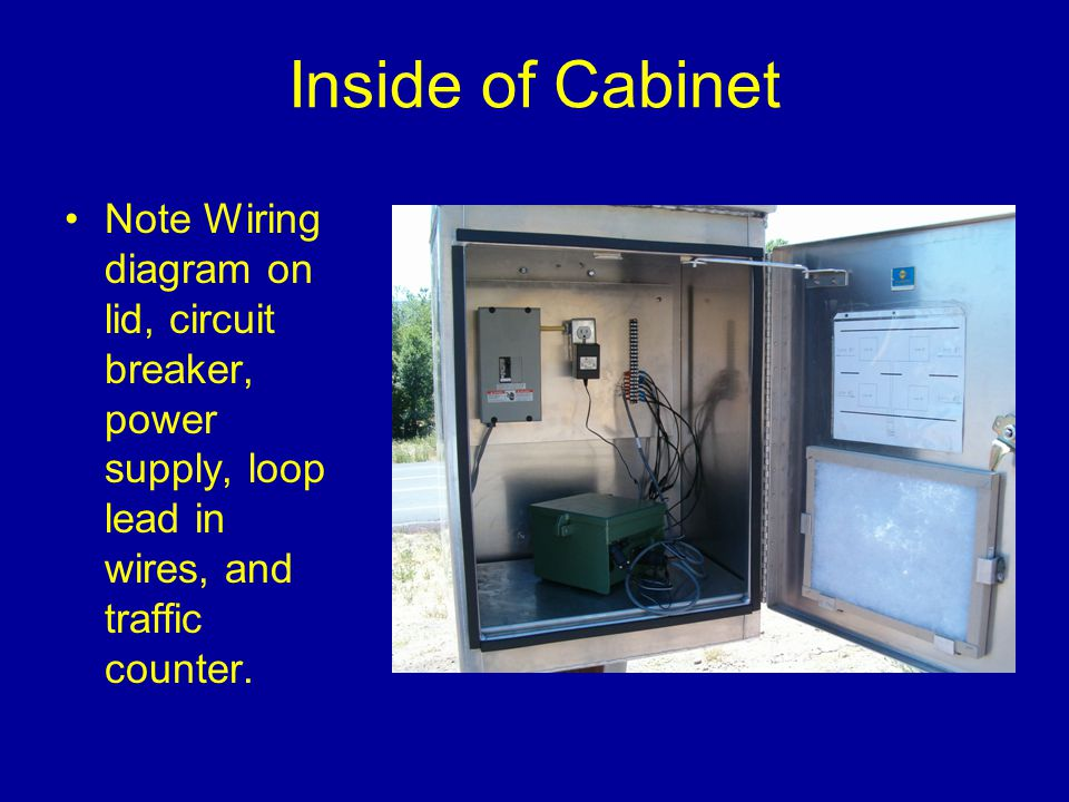 Inside of Cabinet Note Wiring diagram on lid, circuit breaker, power supply, loop lead in wires, and traffic counter.