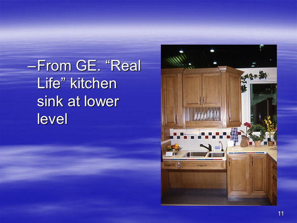 11 –From GE. Real Life kitchen sink at lower level