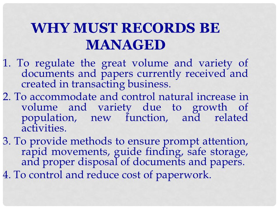Some records that should be kept permanently are: 1.