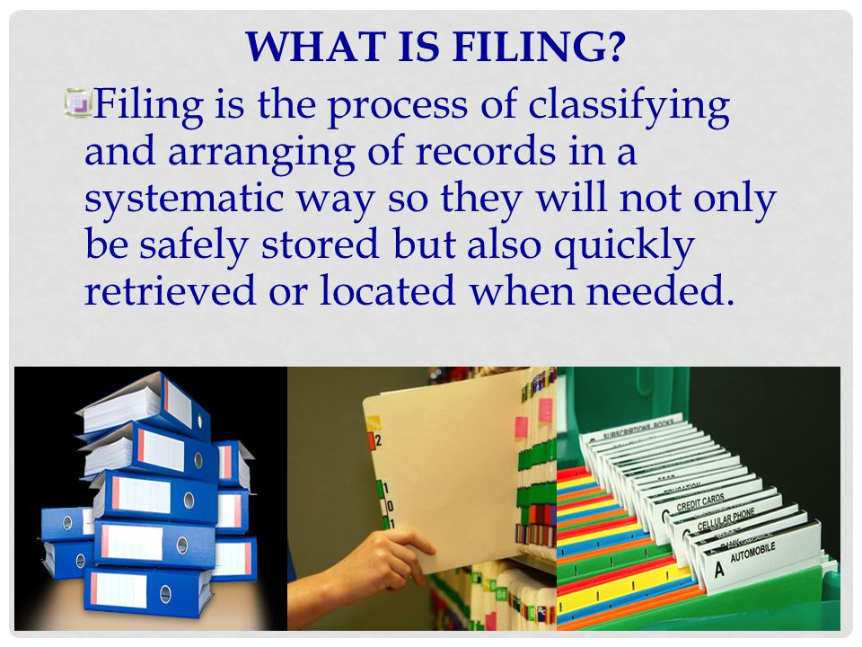 TRANSFER AND RETENTION Transferring files is the process of removing old and inactive items from files.