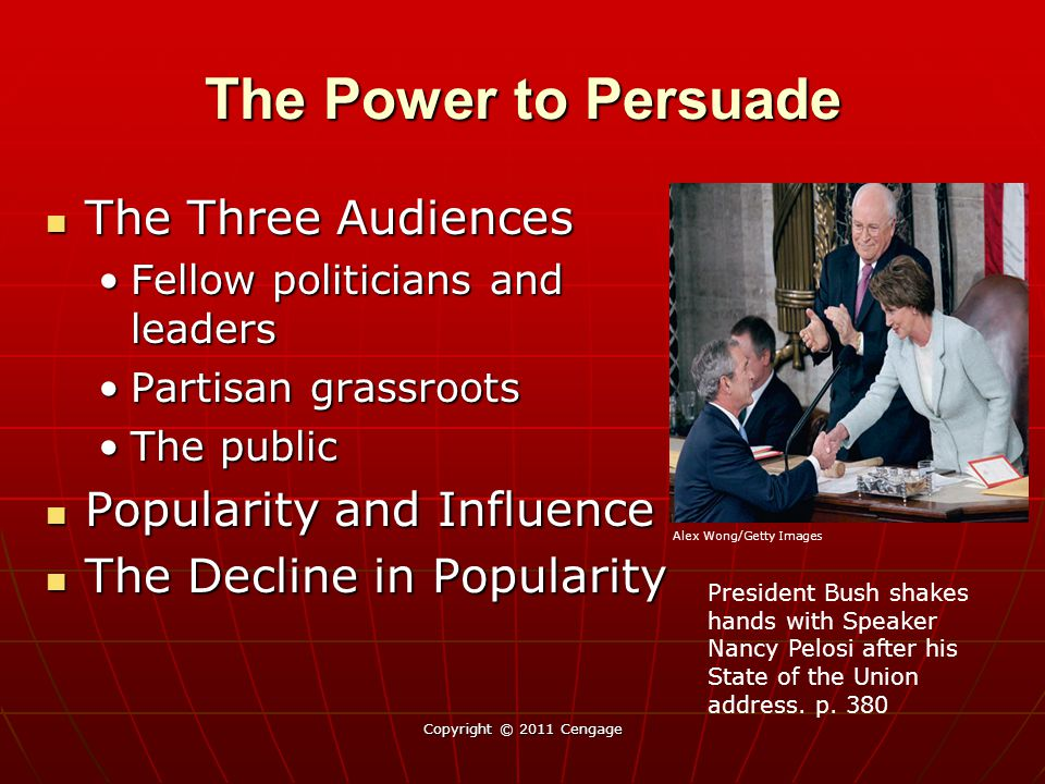 The Power to Persuade The Three Audiences The Three Audiences Fellow politicians and leadersFellow politicians and leaders Partisan grassrootsPartisan
