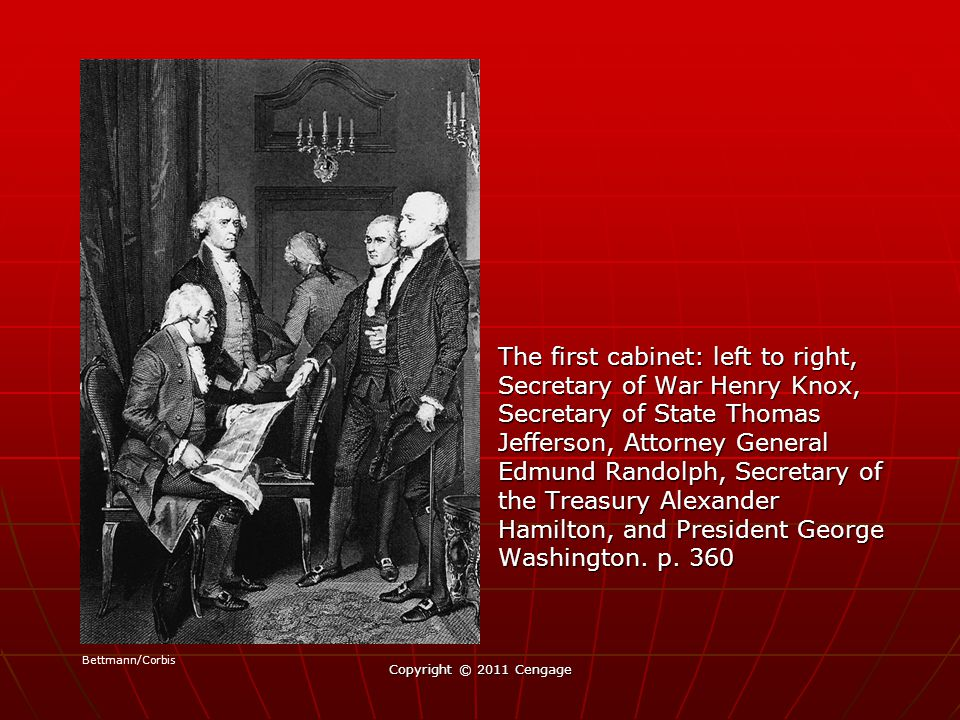 The first cabinet: left to right, Secretary of War Henry Knox, Secretary of State Thomas Jefferson, Attorney General Edmund Randolph, Secretary of the Treasury Alexander Hamilton, and President George Washington.