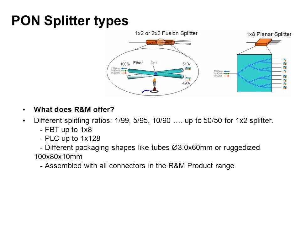 PON Splitter types What does R&M offer? Different splitting ratios: 1/99, 5/95, 10/90 …. up to 50/50 for 1x2 splitter. - FBT up to 1x8 - PLC up to 1x1