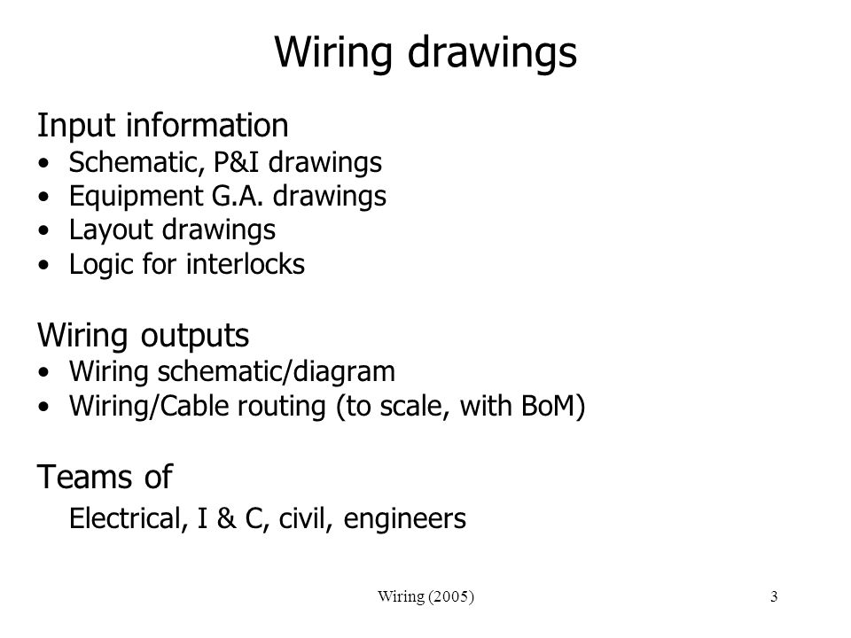 Wiring (2005)3 Wiring drawings Input information Schematic, P&I drawings Equipment G.A. drawings Layout drawings Logic for interlocks Wiring outputs W