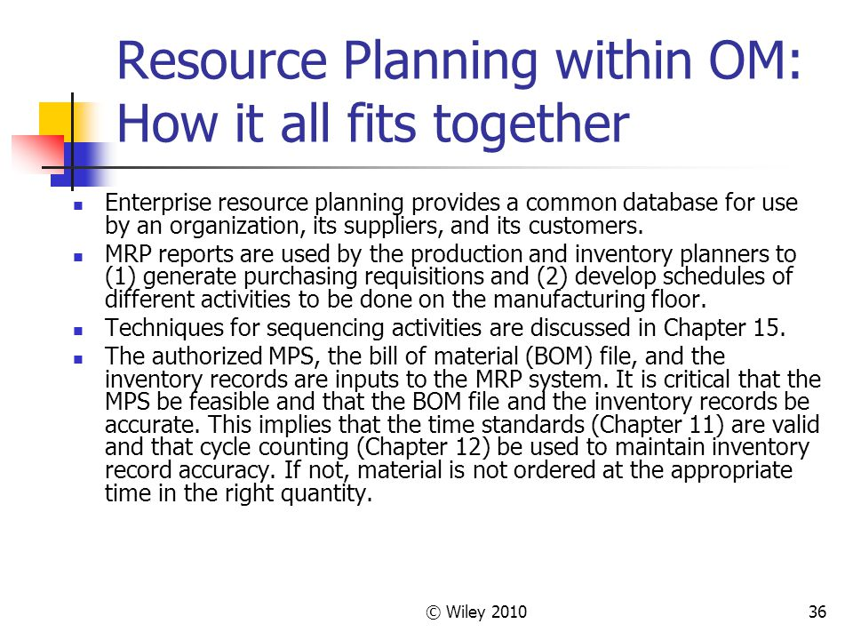© Wiley 201036 Resource Planning within OM: How it all fits together Enterprise resource planning provides a common database for use by an organization, its suppliers, and its customers.
